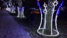 Árboles con la iluminación del ` s del Año Nuevo y guirnaldas de bombillas Se adorna la calle Un niño da un paseo en un parque de metrajes