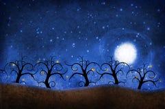 Árboles con las estrellas stock de ilustración