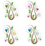 Árboles con los corazones Foto de archivo libre de regalías