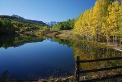 Árboles de Colorado Aspen con el lago y las montañas Imagen de archivo
