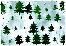 Árboles de Grunge ilustración del vector