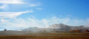 Árboles de la colina y del otoño por una mañana de niebla Fotos de archivo