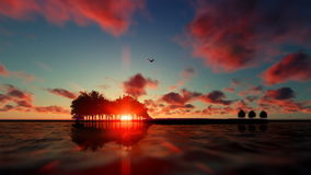 Árboles de la guitarra sobre el océano en la salida del sol con volar de los pájaros libre illustration