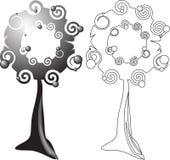 Árboles de la obscuridad y del contorno. ilustración del vector