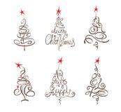 Árboles de navidad abstractos de la colección Foto de archivo libre de regalías