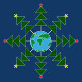 Árboles de navidad abstractos del copo de nieve alrededor de la tierra planeta Fondo azul marino Fotos de archivo libres de regalías