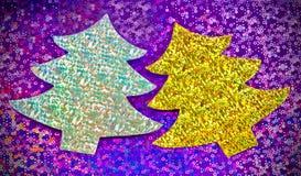 Árboles de navidad brillantes Fotografía de archivo libre de regalías