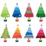 Árboles de navidad coloridos ilustración del vector