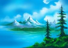 Árboles de navidad con el lago y el paisaje pintado colinas Fotografía de archivo