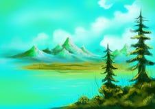 Árboles de navidad con el lago y el paisaje pintado colinas Imagenes de archivo