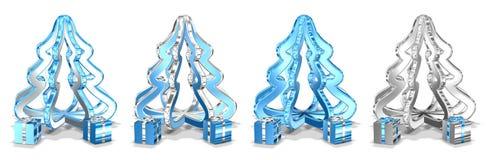 Árboles de navidad con los presentes Fotos de archivo