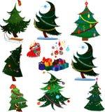 Árboles de navidad de la historieta con los presentes Fotografía de archivo libre de regalías