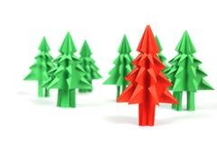 Árboles de navidad de la papiroflexia Fotos de archivo