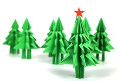 Árboles de navidad de la papiroflexia Foto de archivo