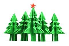 Árboles de navidad de la papiroflexia Imagenes de archivo