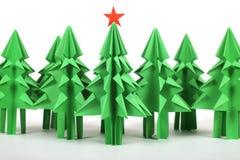 Árboles de navidad de la papiroflexia Foto de archivo libre de regalías