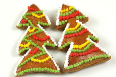 Árboles de navidad de las galletas del pan de jengibre Fotos de archivo libres de regalías