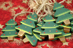 Árboles de navidad de madera Fotografía de archivo