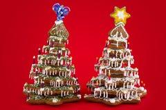 Árboles de navidad del pan de jengibre Foto de archivo