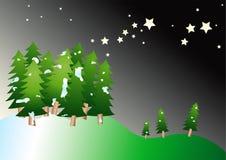 Árboles de navidad del vector en la noche stock de ilustración