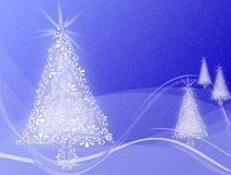 Árboles de navidad en fondo ondulado del remolino azul Foto de archivo