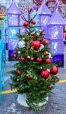 Árboles de navidad en las calles y los cuadrados de Moscú Fotografía de archivo