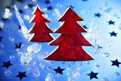 Árboles de navidad en rojo Imagen de archivo libre de regalías