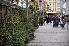 Árboles de navidad en venta y gente del paso en el mercado en Colonia Foto de archivo libre de regalías