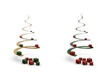 Árboles de navidad espirales con los giftboxes Imagen de archivo