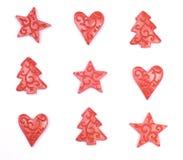 Árboles de navidad, estrellas y corazones Imagenes de archivo