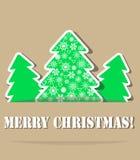 Árboles de navidad geométricos con la cortina stock de ilustración