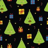 Árboles de navidad de la diversión con las caras en fondo negro stock de ilustración