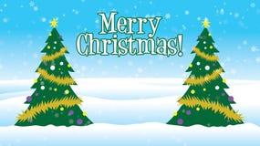 Árboles de navidad de la Feliz Navidad adornados fuera de insnow stock de ilustración