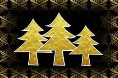 Árboles de navidad de oro 3d con los cristales de hielo de oro Foto de archivo libre de regalías