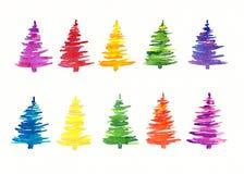 Árboles de navidad pintados a mano coloridos Imagenes de archivo