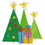 árboles de navidad Retro-estilizados Imágenes de archivo libres de regalías