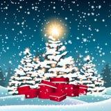 Árboles de navidad y cajas de regalo rojas en nieve Ilustración del Vector
