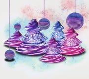 Árboles de navidad y ornamentos Foto de archivo
