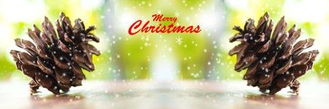 Árboles de navidad y palabra de la Feliz Navidad Ciérrese encima de los conos del pino Foto de archivo libre de regalías