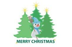Árboles de navidad y un muñeco de nieve Foto de archivo libre de regalías