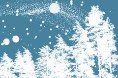 Árboles de pino blanco y copos de nieve borrosos Fotografía de archivo libre de regalías