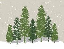 Árboles de pino del invierno libre illustration
