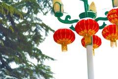 Árboles de pino, lámparas de calle y linternas Fotos de archivo