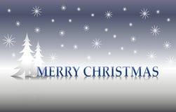 Árboles de plata 2 de la Feliz Navidad stock de ilustración