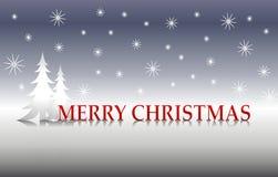 Árboles de plata de la Feliz Navidad ilustración del vector