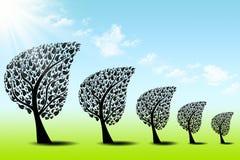 Árboles del arte abstracto y cielo azul ilustración del vector