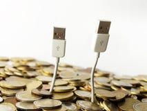 Árboles del dinero y del usb Fotografía de archivo libre de regalías