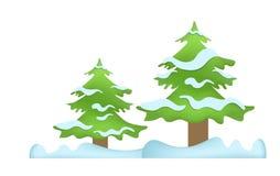 Árboles del invierno en la nieve Foto de archivo libre de regalías