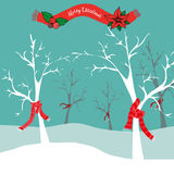 Árboles del invierno en los christms tiempo, ejemplo del vector Imágenes de archivo libres de regalías