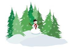 Árboles del muñeco de nieve y de pino Foto de archivo libre de regalías
